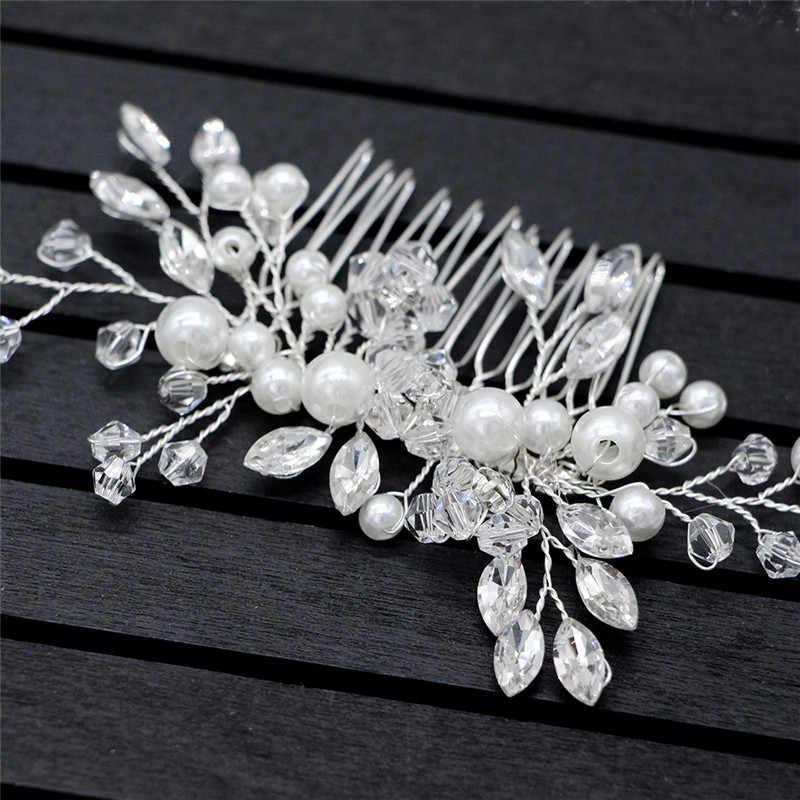Gümüş inci tokalar çiçek gelin saç Pins saç süsler saç sopa inci taklidi tokalar düğün saç aksesuarları