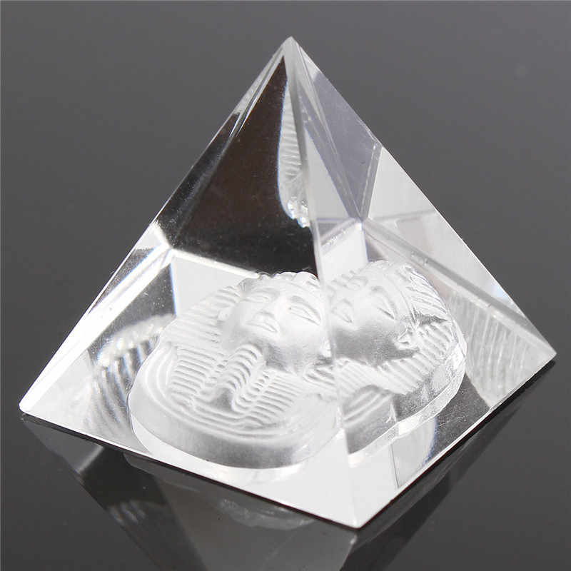 Chanceux énergie guérison petit Feng Shui egypte forme égyptienne cristal clair pyramide ornement Reiki Chakra guérison amulette décor à la maison