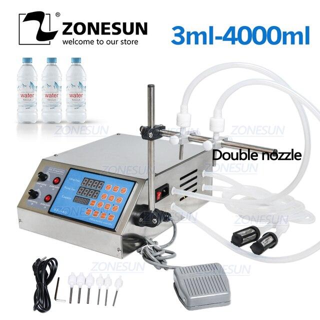 ZONESUN Manual Electric Digital Control Pump Machinery Small Bottle Tube Perfume Mineral Water Juice Oil Liquid Filling Machine