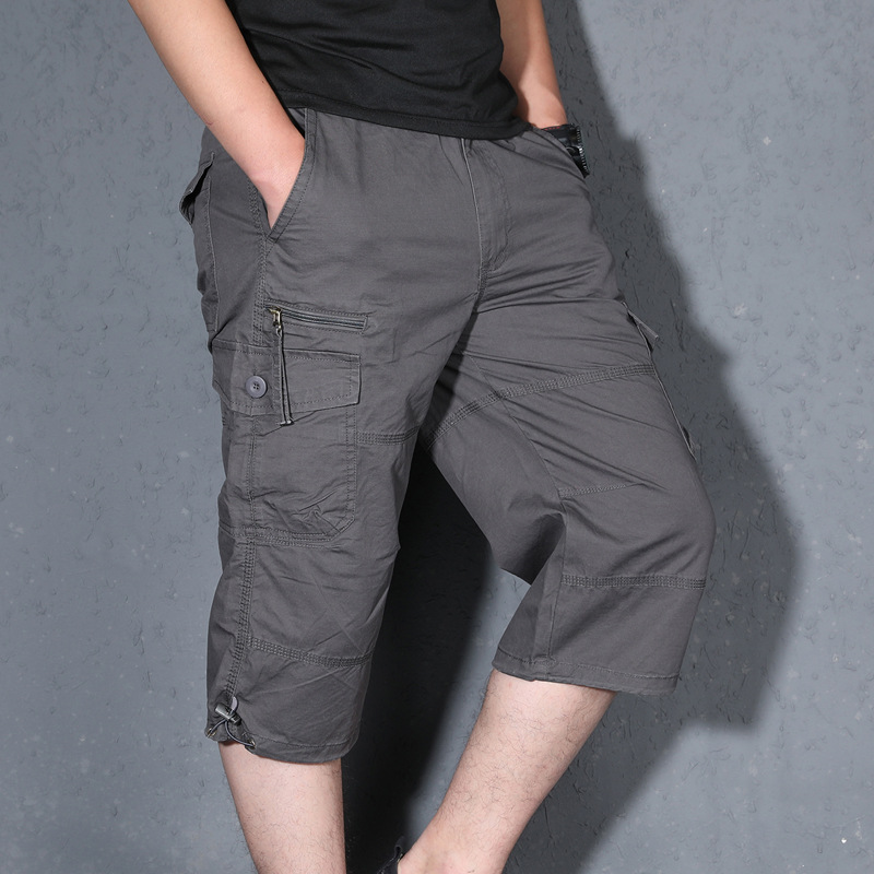 Summer Thin Section Loose-Fit Shorts Cropped Trousers For Men Casual Pants Plus-sized Middle-aged Shorts Men's Capris