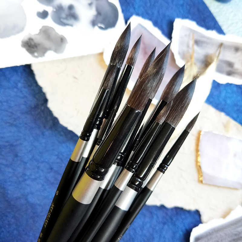 1Pcs Ronde Wees Kunstenaar Eekhoorn Haar Penselen Aquarel Borstel Pen voor Water Kleur Schilderen Tekening Kunst School Supplies