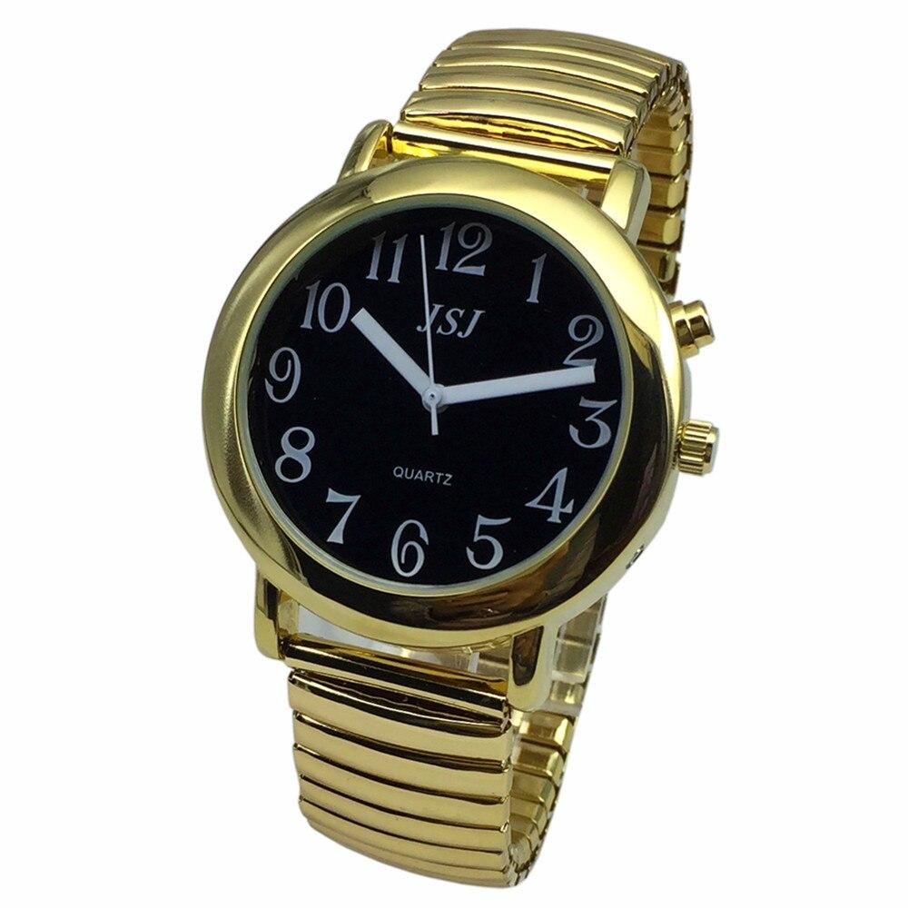 Французские говорящие часы с будильником, говорящая Дата и время, черный циферблат, расширяющийся браслет TAF-602