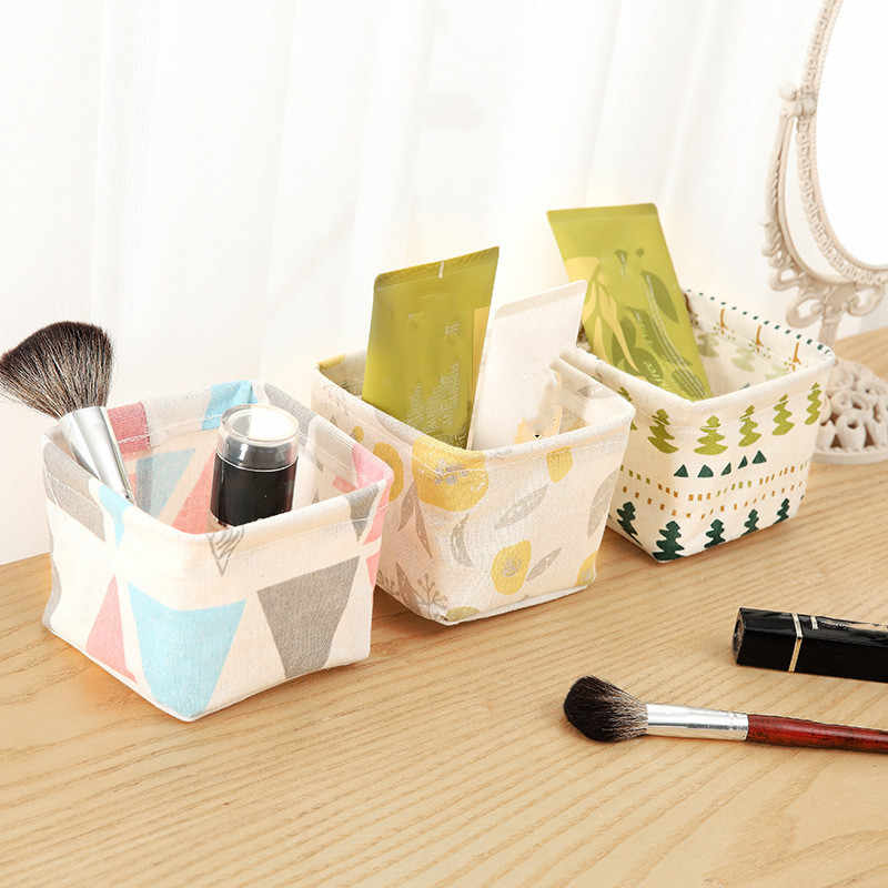 Desktop Storage Basket Cute Printing Waterproof Organizer Canvas Fabric Toy Cosmetic Jewelry Sundries Office Storage Box