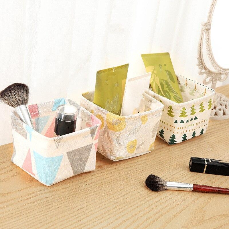 Desktop Storage Basket Cute Printing Waterproof Organizer Canvas Fabric Toy Cosmetic Jewelry Sundries Office Storage Box