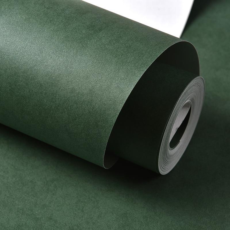 Minimalist Modern Plain Color Solid Color Clothing Store Blackish Green Non-woven Wallpaper Bedroom Living Room Gray Wall Wallpa