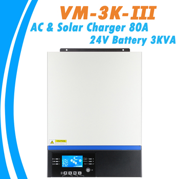 3KW Pure Sine Wave Hybrid Inverter 24V 230V Built-in 80A MPPT PV Charge Controller and AC Charger VM-3KW-III With USB Bluetooth