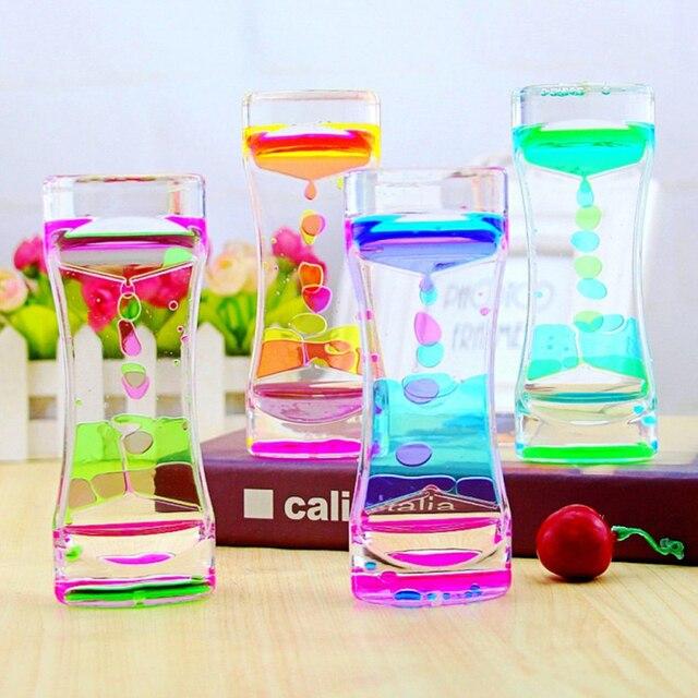 1 szt. Podwójny kolorowy piasek klepsydry pływający olej płynny wizualny zegar ruchu szklany zegar akrylowy dekoracja wnętrz ozdoba na biurko