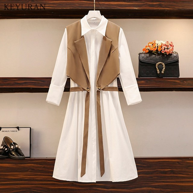 Long Shirt Two Piece Set  Turn Down Collar White Shirt Dress And Vest Tops 3