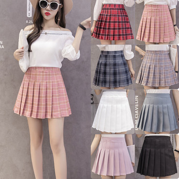 Fashion Women Skirt  High Waist Stitching Skirts Summer Student Pleated Cute Sweet Girls Dance 2020 New