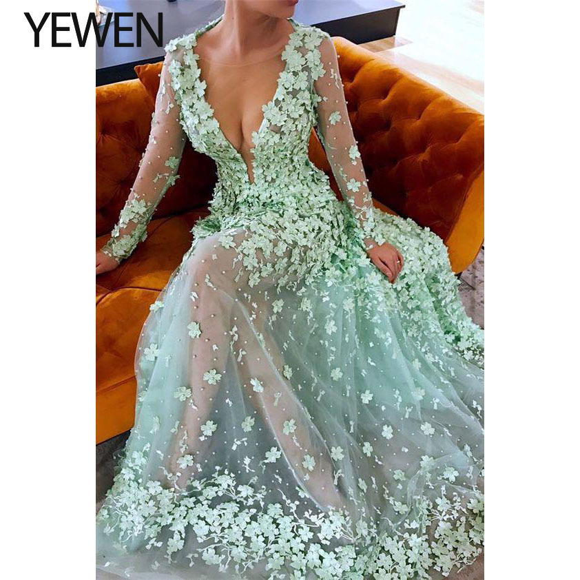 Yewen Evening-Dresses Robe-De-Soiree Appliques Party Floral Long 3D See-Through V-Neck title=