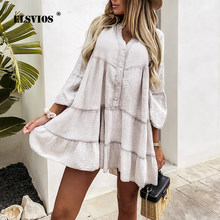 Women Vintage Ruffle A-line Dress Casual V-neck Buttons Cardigan Solid Dress New Summer 2021 Lady Elegant Party Dresses Vestidos