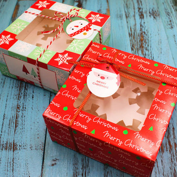 Christmas Cake Box Cupcake Gift Box With Tray Biscuit Nougat Chocolate Box Packaging Sweets Red Cute Gift Box Red Craft Wrap