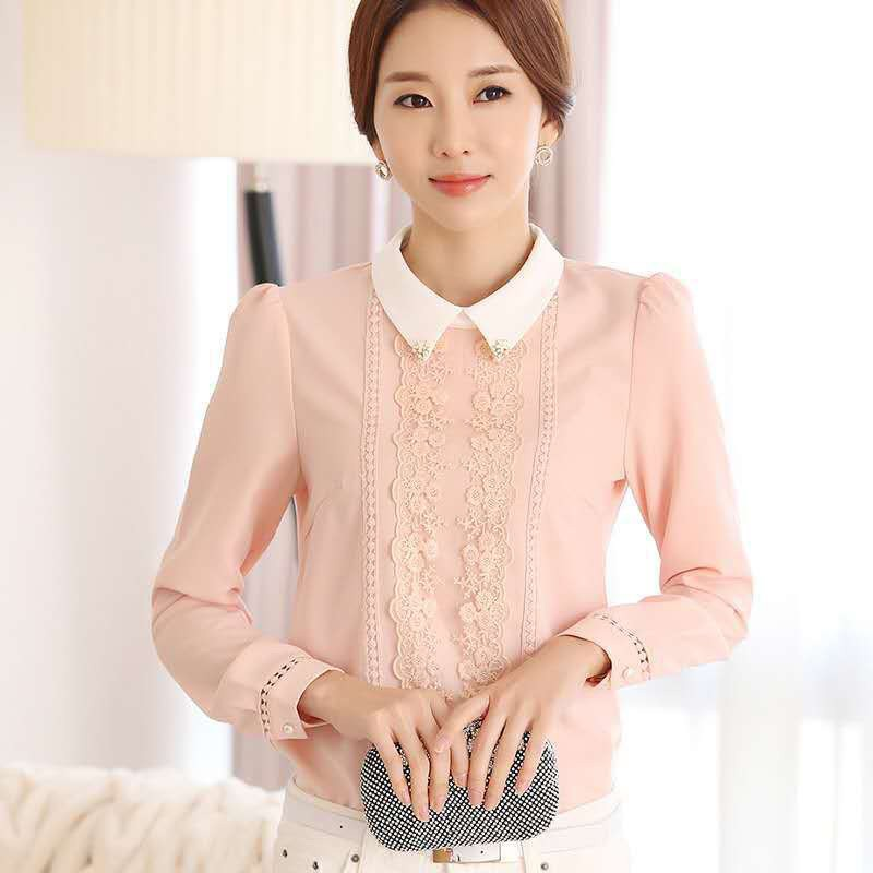 Long Sleeve Peter Pan Collar Lace Chiffon Blouse Autumn Women Elegent Tops And Blouses Slim Wild Bottoming Shirts