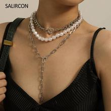 Salircon Steampunk Multi Layer Imitation Pearl Choker Necklaces For Women Hip Hop Clavicle Chain Long Chunky Necklace Jewelry zoshi bohemian multi layer long necklace for women imitation pearl choker necklace collars statement necklace summer jewelry