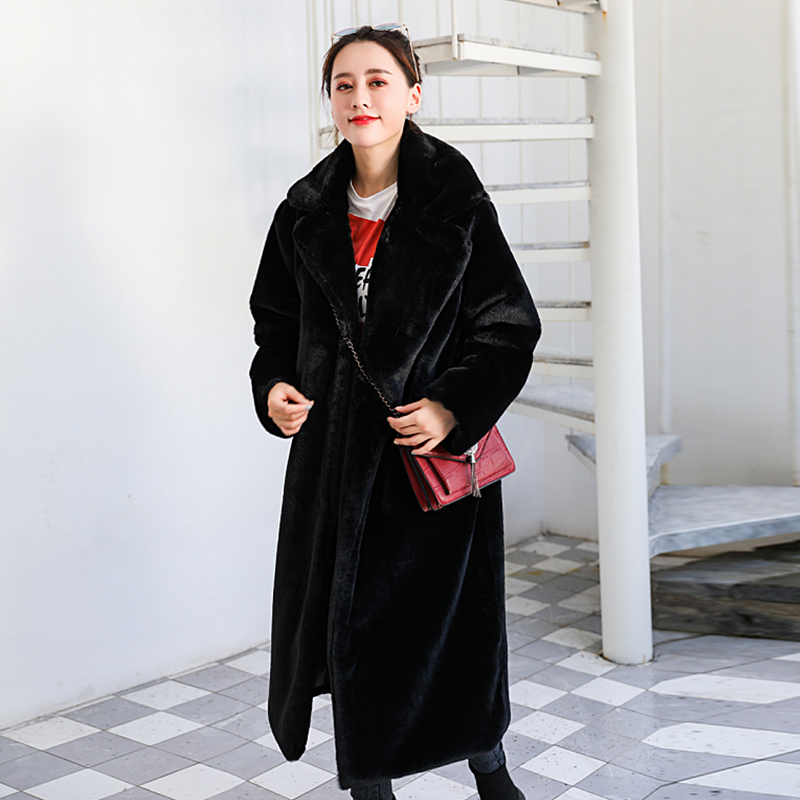 2019 Winter Rabbit Fur Coat Women Loose Lapel Luxury Thicken Warm Long Faux Rabbit Fur Coat Oversize Female Plush Coat JLS132