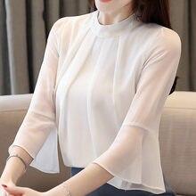 Mulheres blusas mulheres encabeça blusas mujer de moda2019 Metade do Alargamento Da Luva da camisa das mulheres blusas