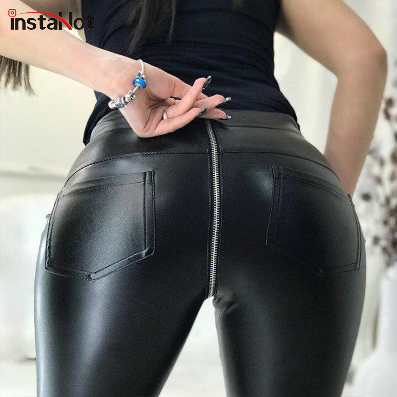 InstaHot Sexy Faux Leanther Zipper Back Pants Women Slim Skinny Push- Up Pencil Trousers Casual Ladies Autumn Leather Pants
