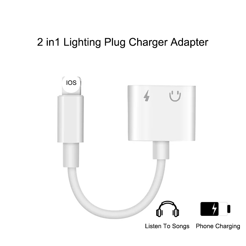 For Iphone 3.5mm Jack AUX Headphone Audio 2 In 1 For Iphone 11 X XS XR 7 8 Plus Lighting Plug Charger Adapter IOS 12 System
