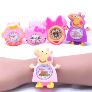 Pink Silicone Watches for Girls Kids Toys Gifts Pig Animal Watch Rubber Slap Belt Girl