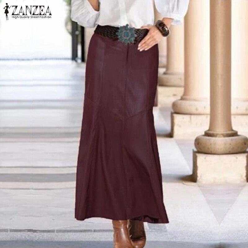 Fashion PU Leather Skirts Women's Spring Vestidos ZANZEA 2021 Casual High Waist Maxi Skirt Female Solid OL Robe Plus Size