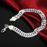 Pulsera de plata de ley 925 con cadena lateral para hombre y mujer, brazalete de 10MM, para boda, compromiso, fiesta, joyería de moda