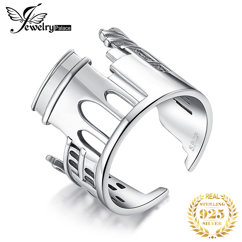 JewelryPalace Marble Arch Rings 925 Sterling Silver Rings For Women Open Stackable Ring Band Silver 925 Jewelry Fine Jewelry