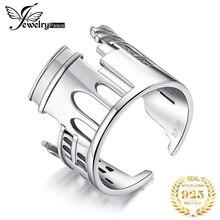 JewelryPalace Marmor Bogen Ringe 925 Sterling Silber Ringe für Frauen Öffnen Stapelbar Ring Band Silber 925 Schmuck Edlen Schmuck