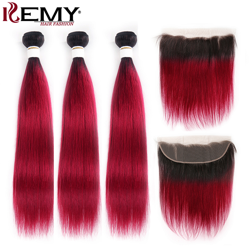 Brazilian Straight Hair Bundles With Frontal 13x4 KEMY HAIR Dark Roots 3PCS Ombre Hair Weave Bundles With Closure Non-Remy Hair