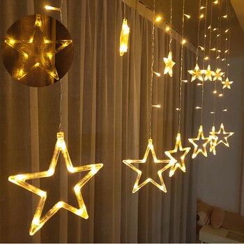Гирлянда Фея светильник s гирлянда из звездочек гирлянда типа занавеса из светодиодной светильник s Рождественское украшение для окон для Свадебная вечеринка Xmas светильник