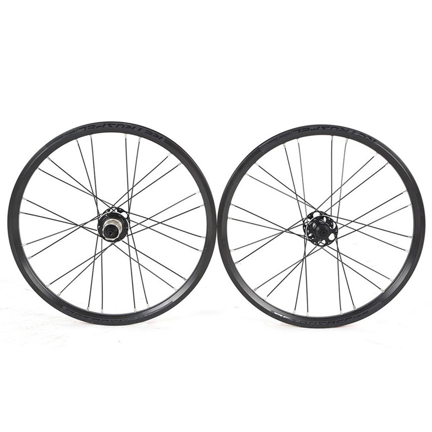 RS MTB Mountain <font><b>BMX</b></font> Bicycle 4Sealed Bearing Folding Bike Round Spokes 24Hole <font><b>20</b></font> Inch Disc Brake Small <font><b>Wheel</b></font> Diameter Wheelset image