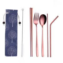 Креативная портативная посуда из нержавеющей стали розового золота с титановым покрытием для окружающей среды, 304 ложка из нержавеющей стали, палочки для еды