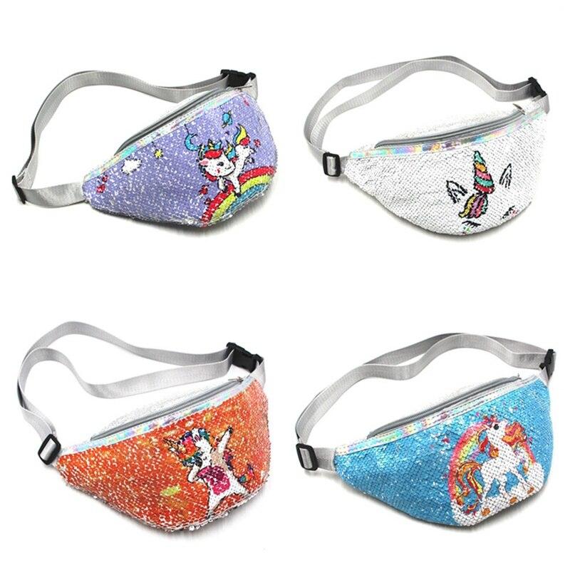 Trendy Reversible Unicorn Mermaid Sequins Glitter Waist Bag Females Travel Money Phone Fanny Bag Waist Packs Bag