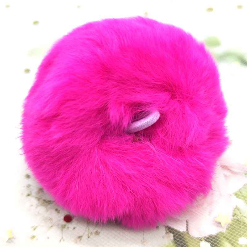2pcs FUR Ball 6 ซม.PomPom พวงกุญแจรถ Pompon กระต่าย FUR Ball พวงกุญแจกระเป๋า DIY Charms bunny Ponpon