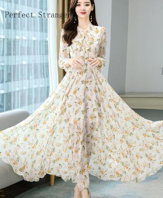 2020 Autumn  New Arrival High Quality Plus Size S-4XL Bow Collar Flower Printed Long Sleeve Women Long Chiffon Dress 1