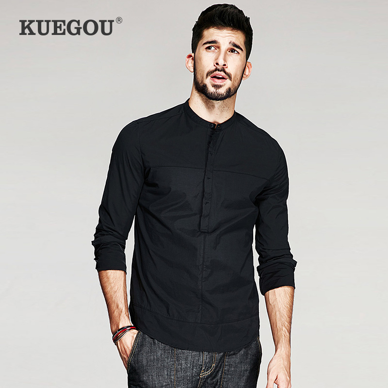 Kuegou Brand Men's Chinese Style Collar Shirt  Half Open Shirt Black Long Sleeve Shirt Of Cultivate One's Morality  JC-6139