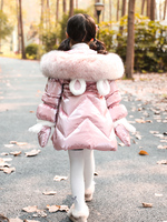 Luxury Glossy Girls Winter Coat with Gloves Princess Chirstmas Gift Waterproof Long Girls Snowsuit Children Down Parkas