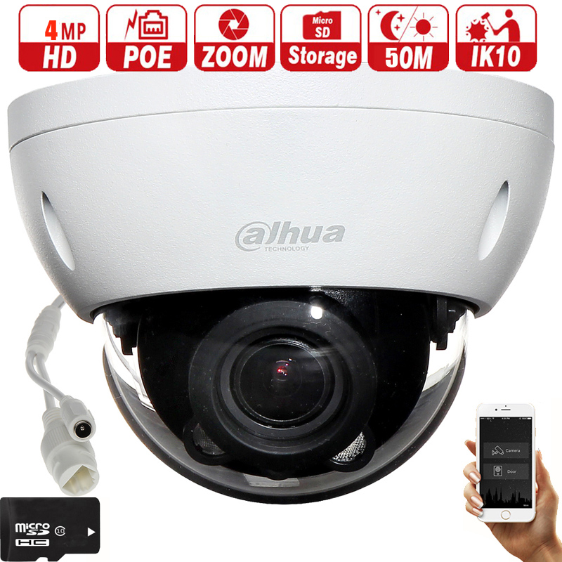 Mutil Language  Dahua Poe Varifocal Motorized Lens 2.8mm ~12mm IPC-HDBW4433R-ZS H.265 Network CCTV Camera 4MP IR 80M Ip Camera