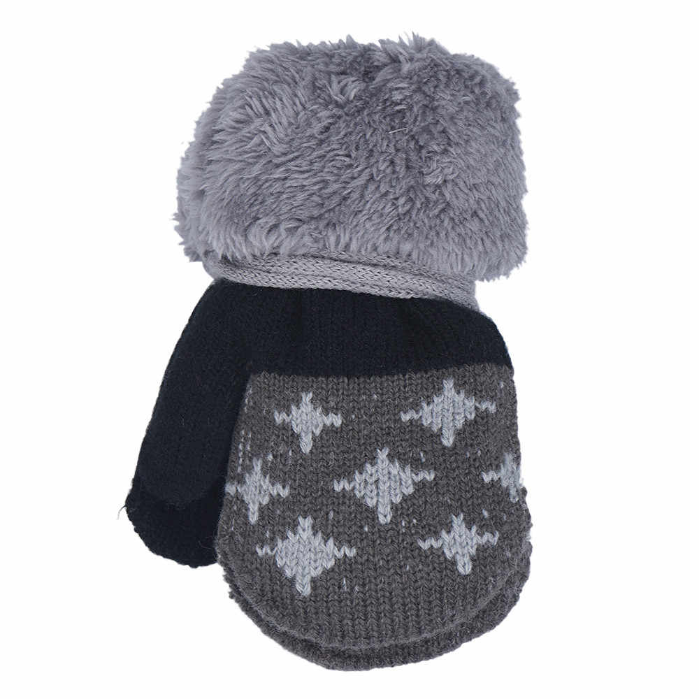 Bebé niño Hoja chica mantener cálido guante invierno Bebé guantes para chicos niños mitones lindos mitones de lana de dibujos animados nuevo