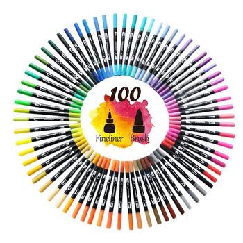 FineLiner podwójna końcówka pędzla pisaki artystyczne 12 48 72 100 120 kolory pisaki akwarelowe do rysowania malarstwo sztuka kaligrafii materiały eksploatacyjne tanie i dobre opinie CN (pochodzenie) 12 kolory no no 12 kolory box Zestaw 100007512 100007512 100007512 100007512 FineLiner Dual Tip Brush Art Markers