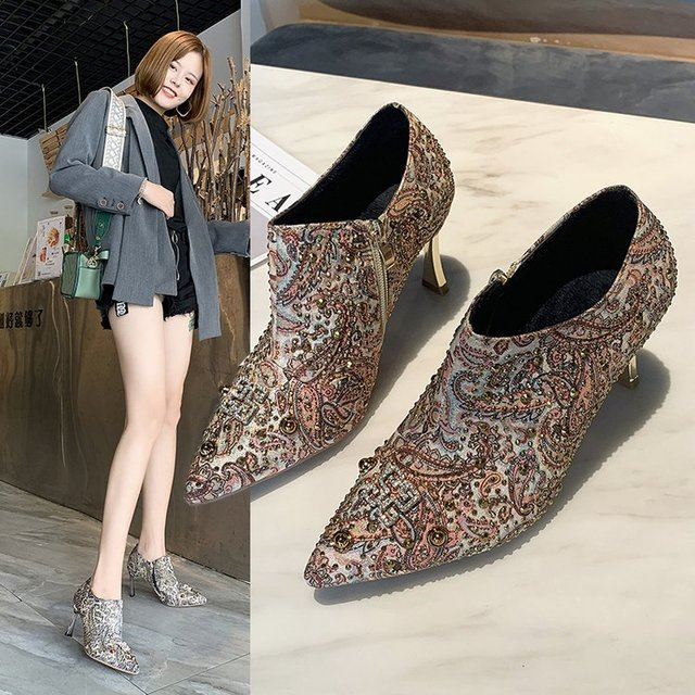 Low-top For Women's Shoes High Metal Decorative Artificial Short Plush Deep Mouth Rubber Zipper Documentary Thin Heels 2019 New