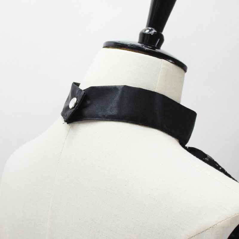 Три слоя оборками волна кружева Поддельный Воротник Подвеска с имитацией бриллианта колье галстук-бабочка