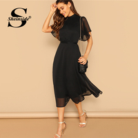 Sheinside Black Elegant Flounce Sleeve Dress Women 2019 Summer Sexy Back Lace Up Midi Dresses Ladies Sheer Mesh Flutter Dress
