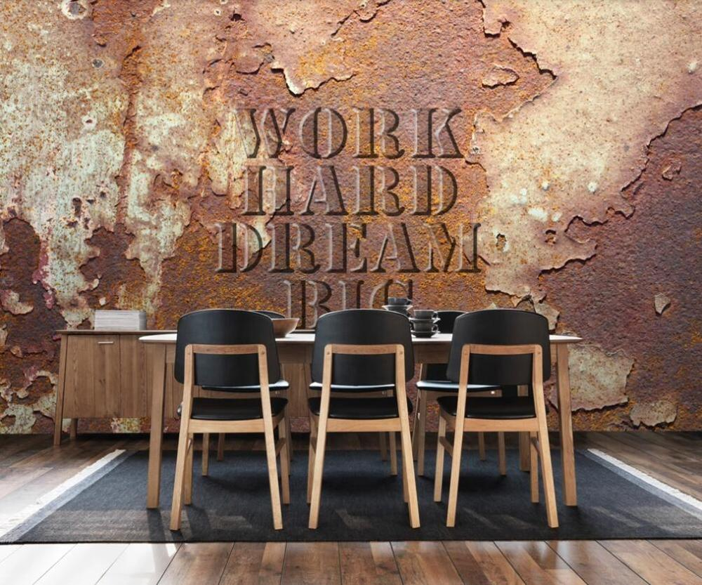 Custom 3D Mural Wallpaper Retro Nostalgic Metal Iron Industrial Wind Bar KTV Background Wall Decorative Painting