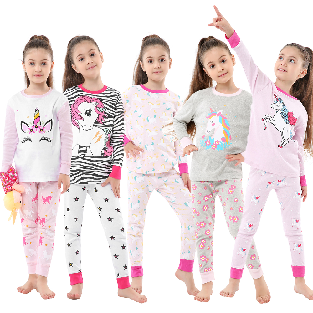 Children Sleepwear Baby Nightwear Pyjamas Kids Homewear Nightwear Full Sleeve Cotton Baby Girls Unicorn Pajamas Sets 1