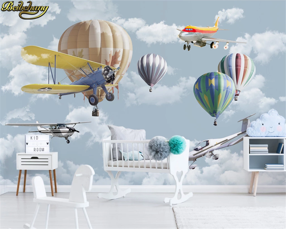 Beibehang Custom 3d Wallpaper Mural Nordic Minimalist Hand-painted Cartoon Airplane Balloon Children's Room Background Wall