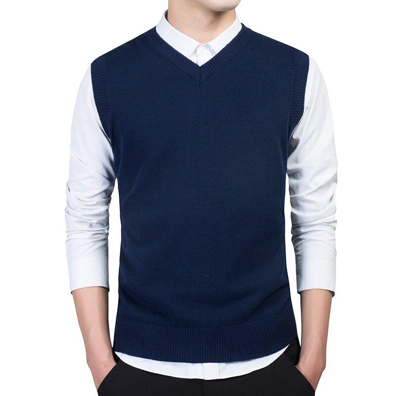 2019 Hombre Casual Sweater Vest Winter Sleeveless Suéter Men V-neck Waistcoat