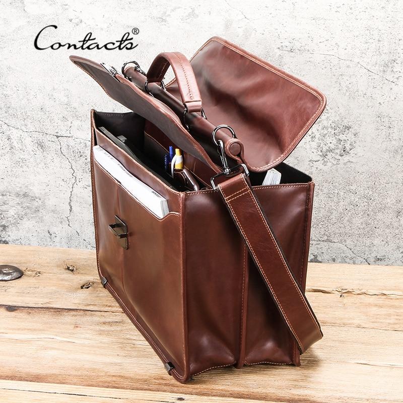 "Image 2 - CONTACTS Casual Men Laptop Bag for 15.6"" Business Men Briefcase Genuine Leather Messenger Shoulder Bags Male Tote Bag BolsasBriefcases   -"