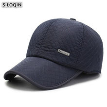 SILOQIN Snapback Tampa Chapéus dos homens Grossas de Inverno Earmuffs Quentes Clássico Da Moda Bonés De Beisebol Com Orelhas Tamanho Ajustável Osso Pai chapéu
