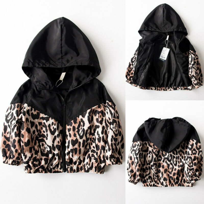 Spring Autumn Clothing Infant Kids Baby Coats Boy Girl Long Sleeve Fall Leopard Patchwork Hooded Jackets Zipper Outfit