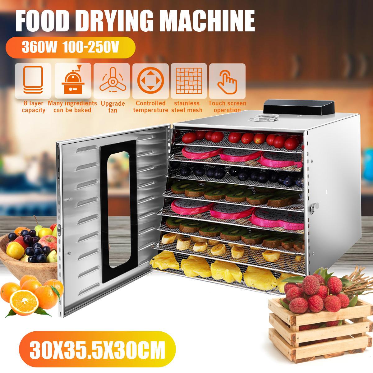 8 слоев Коммерческая профессиональная сушилка для фруктовых продуктов из нержавеющей стали, электрическая сушилка для фруктов и овощей